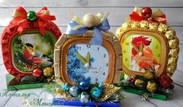 шоколадова композиция новогодишен часовник с петел